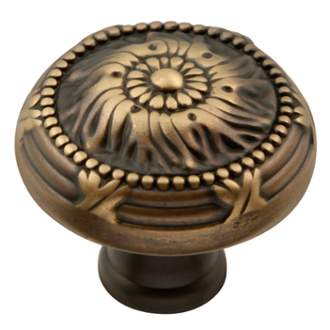 Keeler M2-9312 Ribbon & Reed Collection Knob 1-1/4 Inch Diameter Authentic Brass Finish