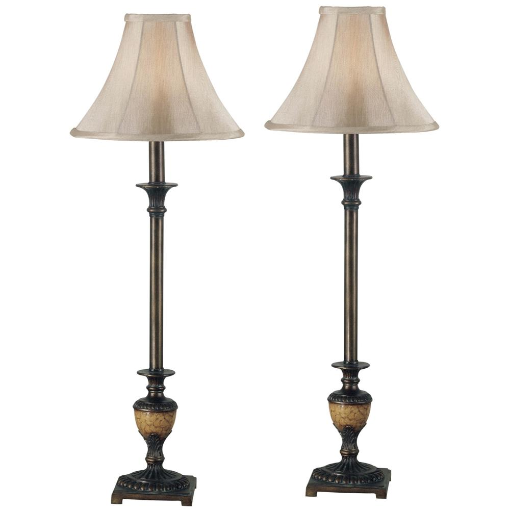 Kenroy Home 30944 Emily Buffet Lamp 2-Pack in Crackle Bronze Finish