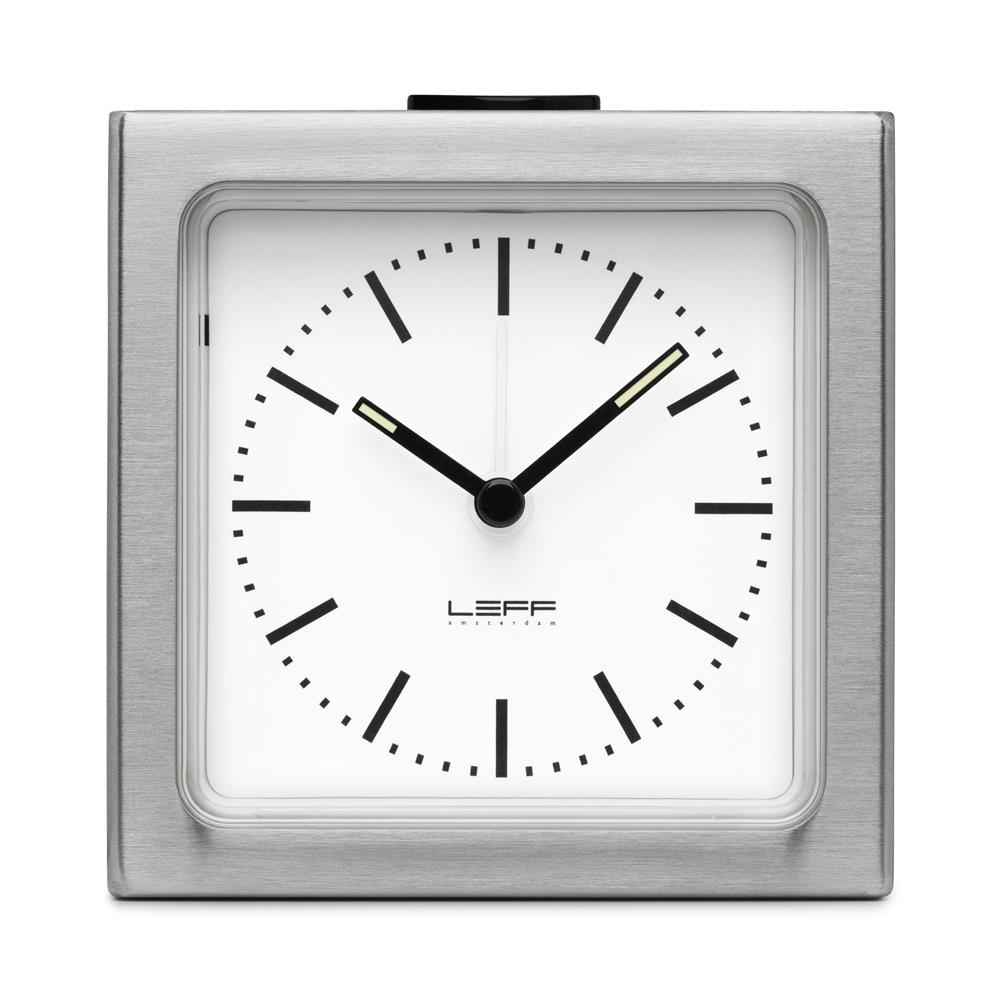 Leff Amsterdam LT90001 Sheng Bang wall/desk alarm clock block stainless steel white index