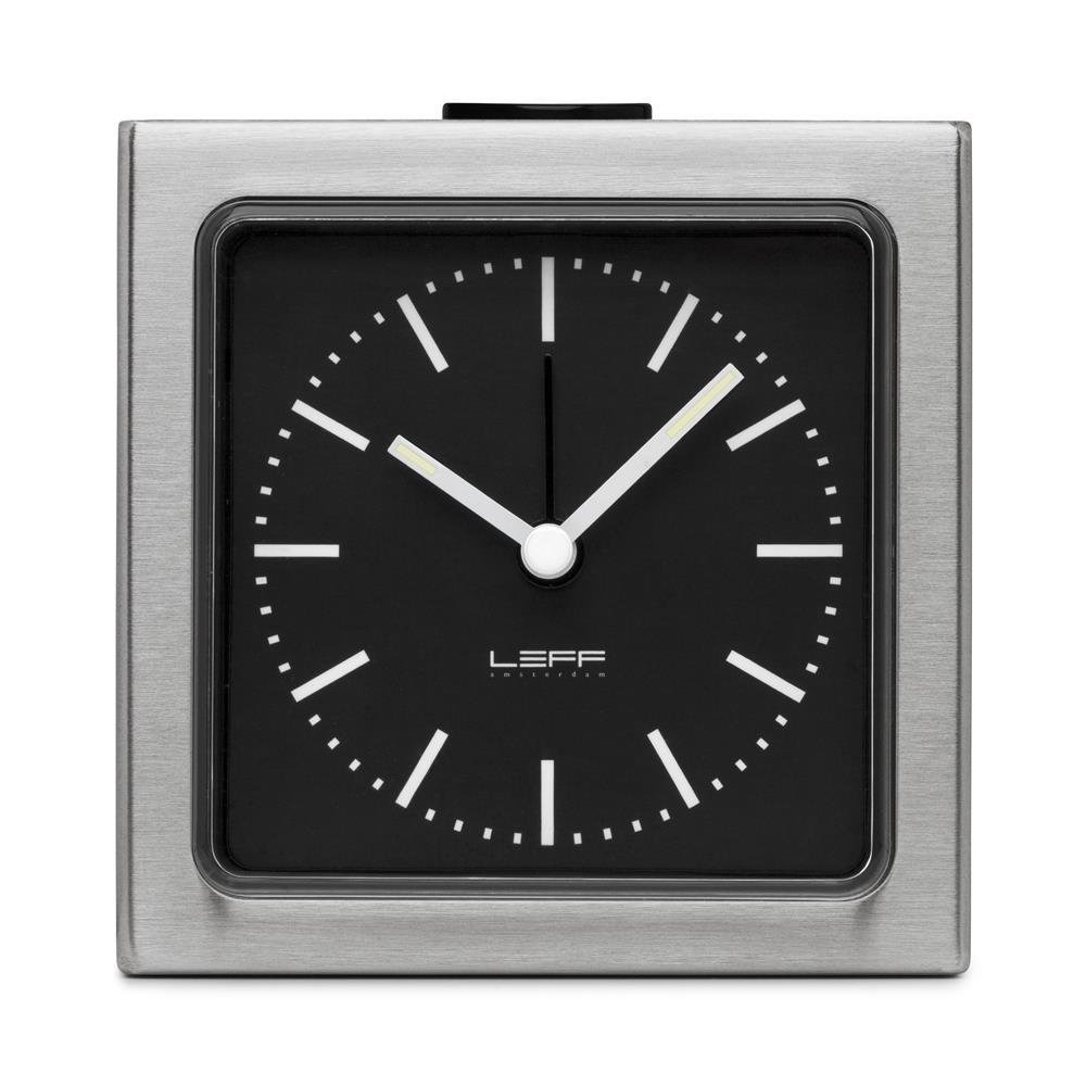 Leff Amsterdam LT90101 Sheng Bang wall/desk alarm clock block stainless steel black index