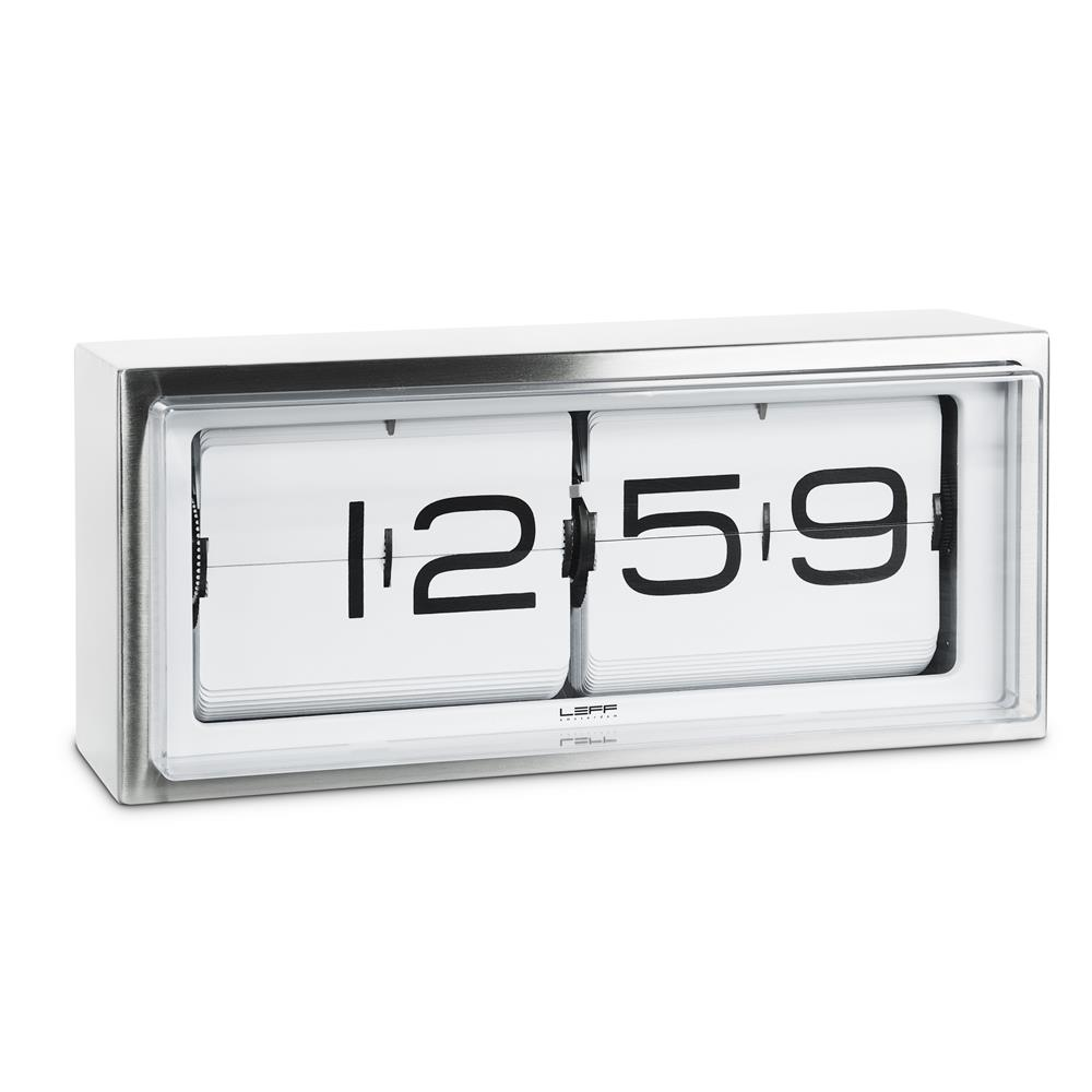 Leff Amsterdam LT15001 OEM movement wall/desk clock brick stainless steel 24h white
