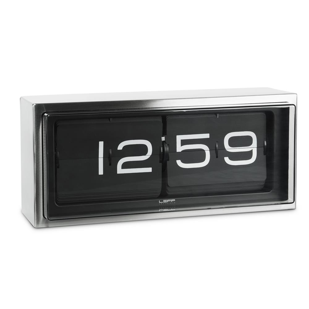 Leff Amsterdam LT15101 OEM movement wall/desk clock brick stainless steel 24h black