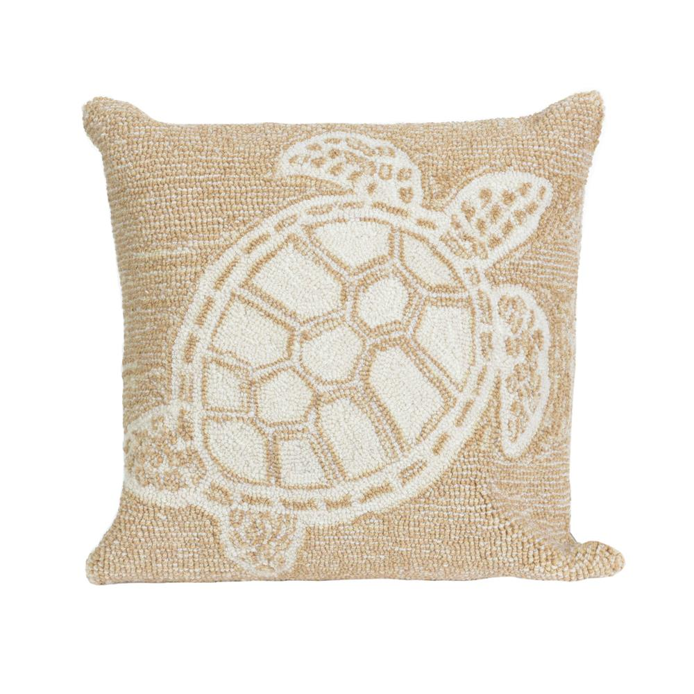 "Liora Manne 1634/12 Frontporch Turtle Indoor/Outdoor Pillow Natural 18"" Square"