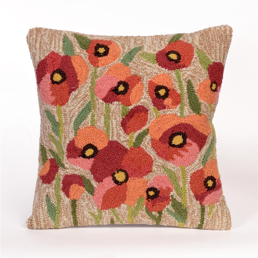"Liora Manne 4244/12 Frontporch Poppies Indoor/Outdoor Pillow Natural 18"" Square"