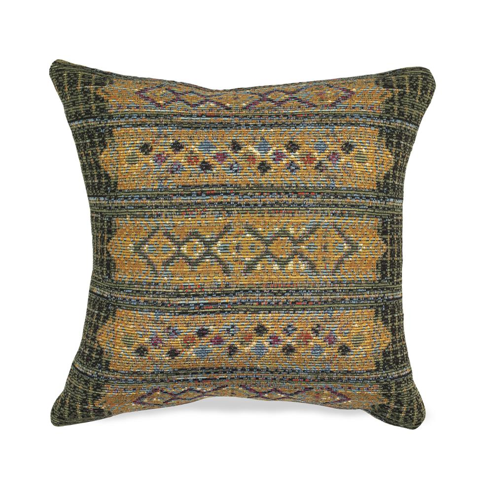 "Liora Manne 7MR8S805706 Marina 8057/06 Tribal Stripe Indoor/Outdoor Green 18"" Square Pillow"