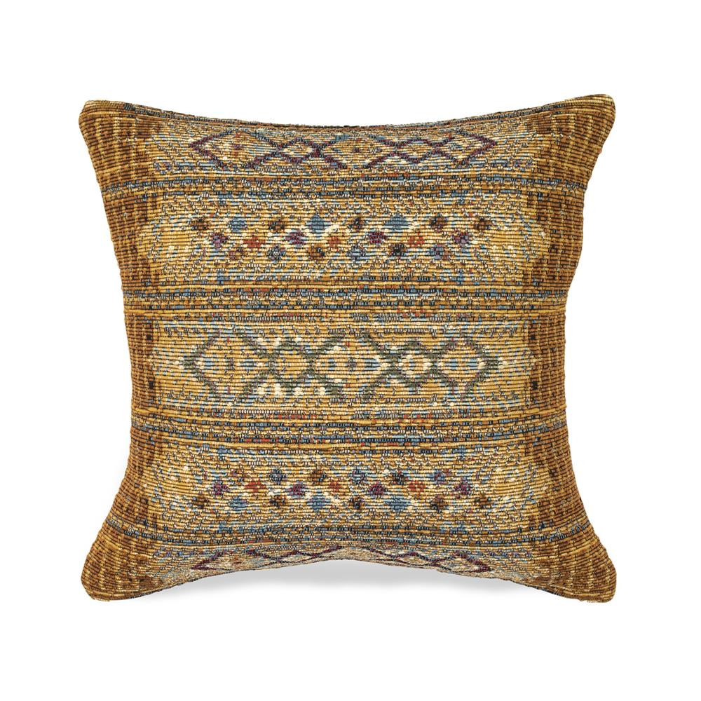 "Liora Manne 7MR8S805709 Marina 8057/09 Tribal Stripe Indoor/Outdoor Gold 18"" Square Pillow"