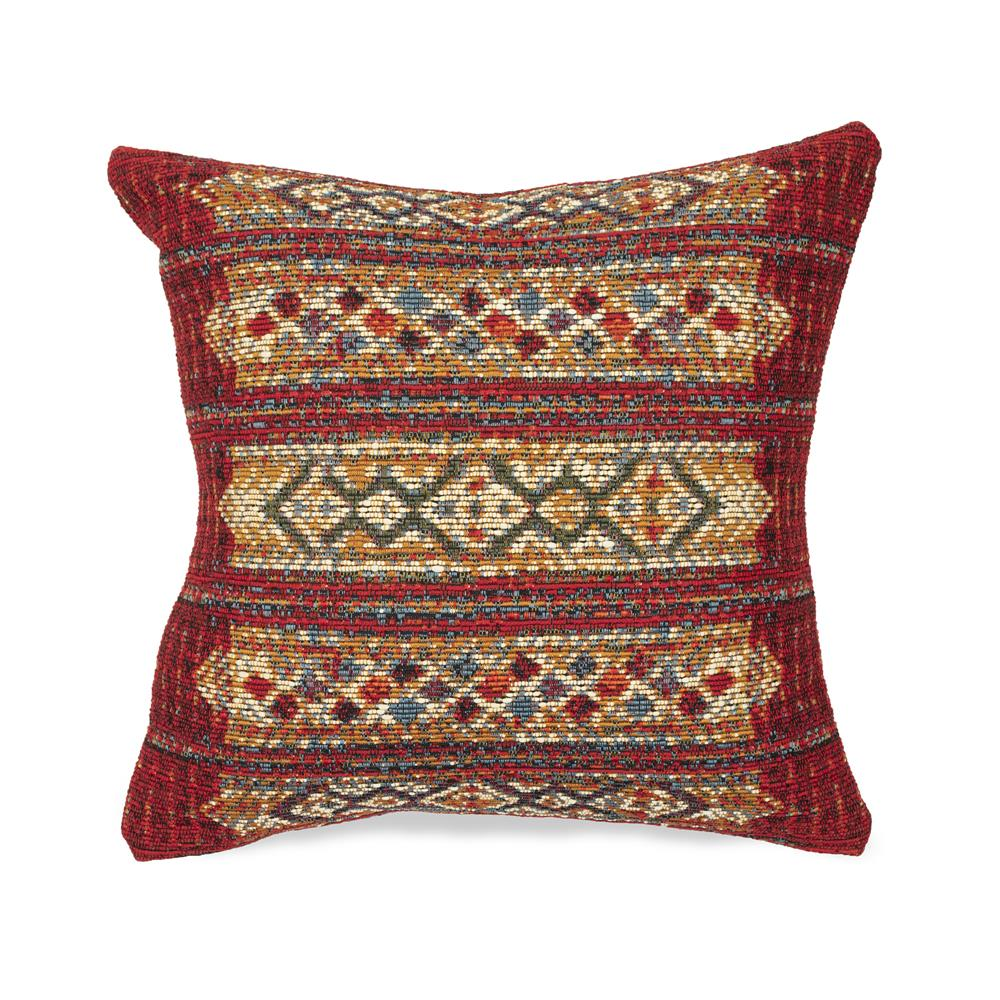 "Liora Manne 7MR8S805724 Marina 8057/24 Tribal Stripe Indoor/Outdoor Red 18"" Square Pillow"