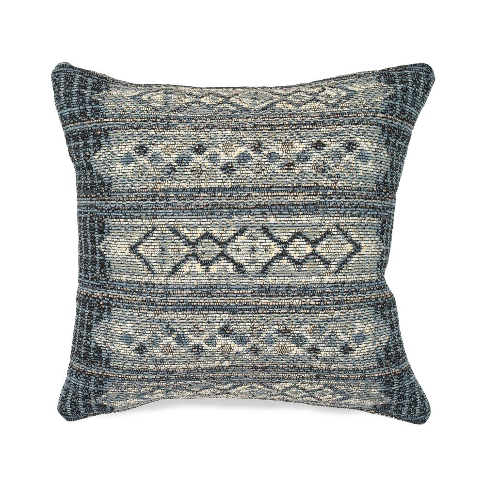 "Liora Manne 7MR8S805733 Marina 8057/33 Tribal Stripe Indoor/Outdoor Denim 18"" Square Pillow"