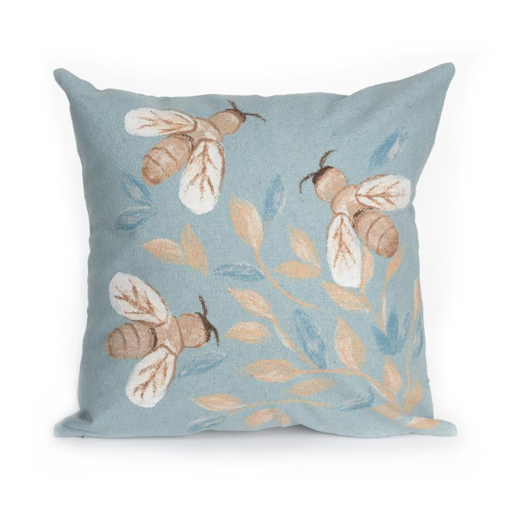 "Liora Manne 4318/04  Visions III Bees Indoor/Outdoor Pillow Blue 12""X20"""