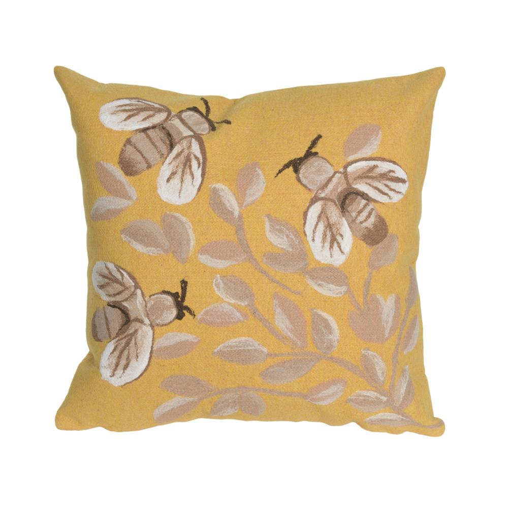 "Liora Manne 4318/09  Visions III Bees Indoor/Outdoor Pillow Gold 12""X20"""