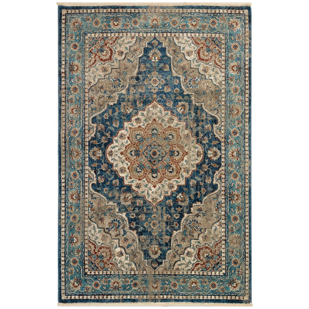 Liora Manne 8130/03 Ashford Medallion Indoor Rug in Blue 3 ft. 3 in. X 4 ft. 9 in.