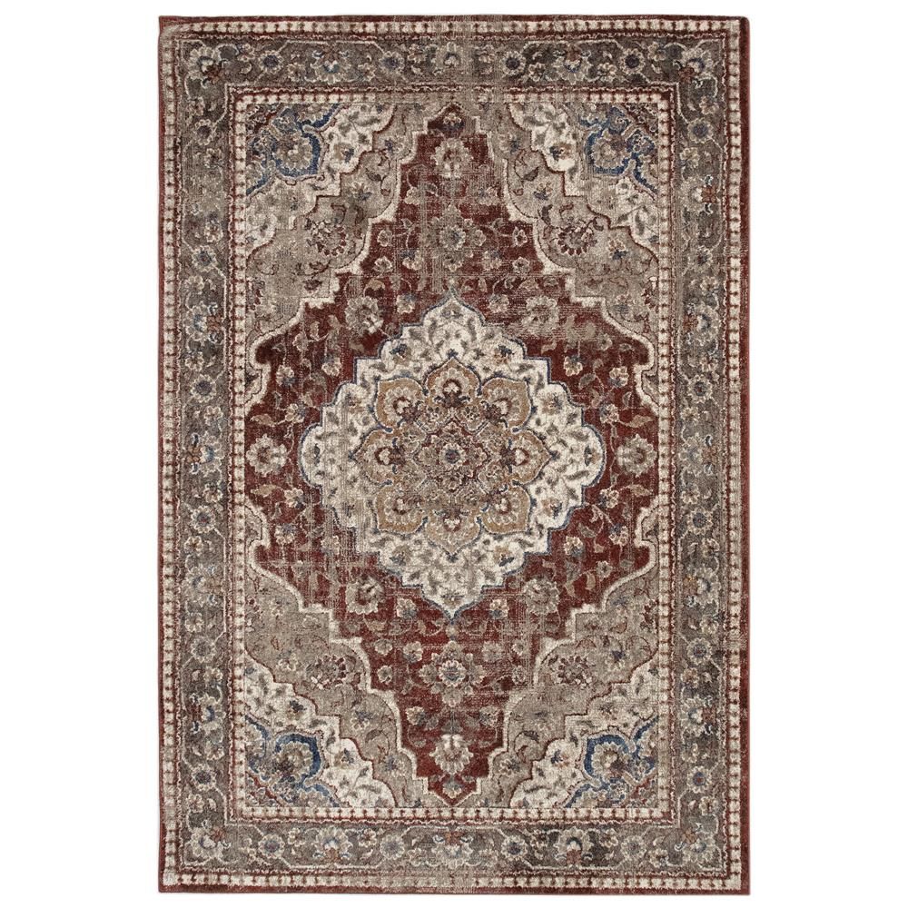 Liora Manne 8130/24 Ashford Medallion Indoor Rug in Red 3 ft. 3 in. X 4 ft. 9 in.