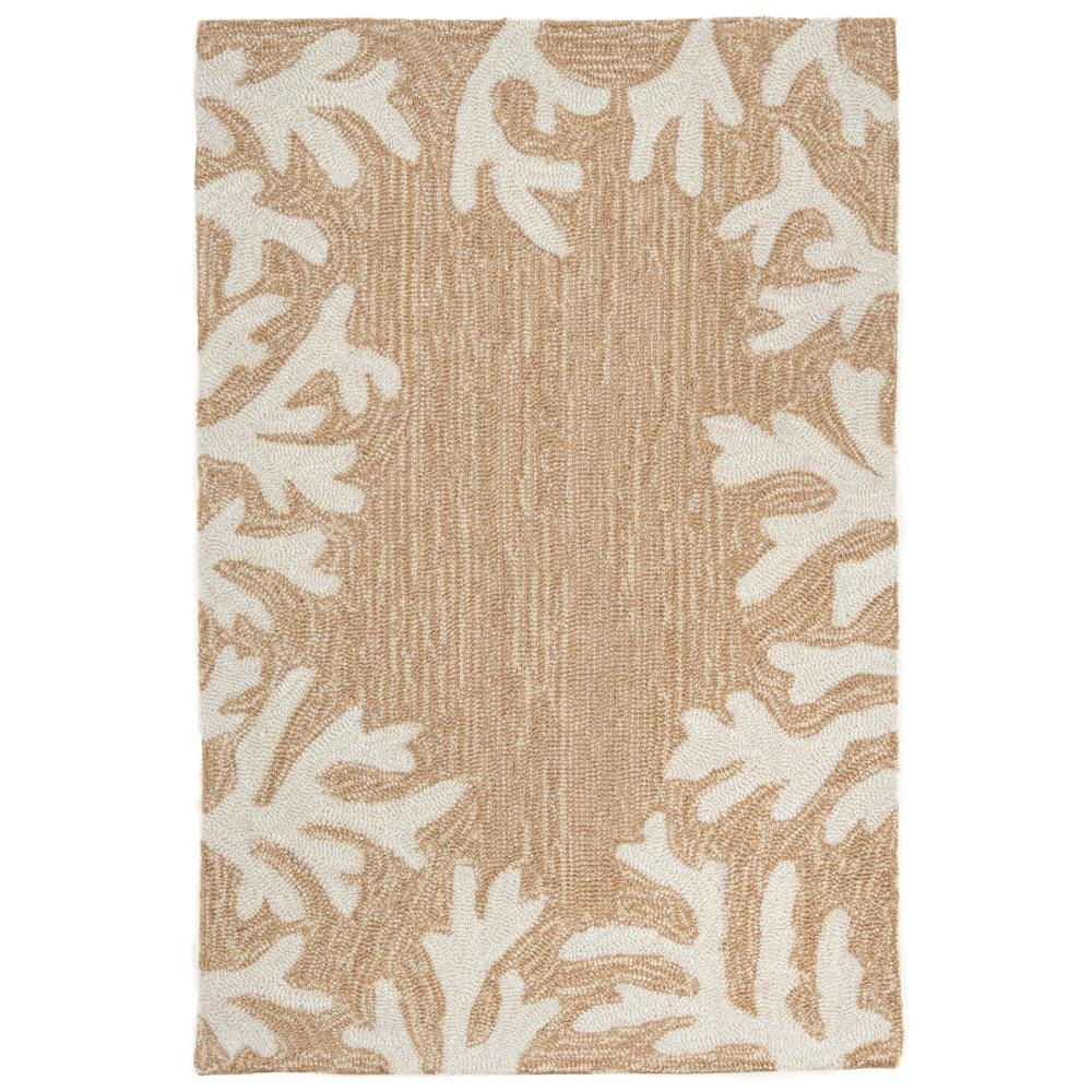 Liora Manne CAP12162012 Capri Coral Bdr Neutral Indoor/Outdoor Rug