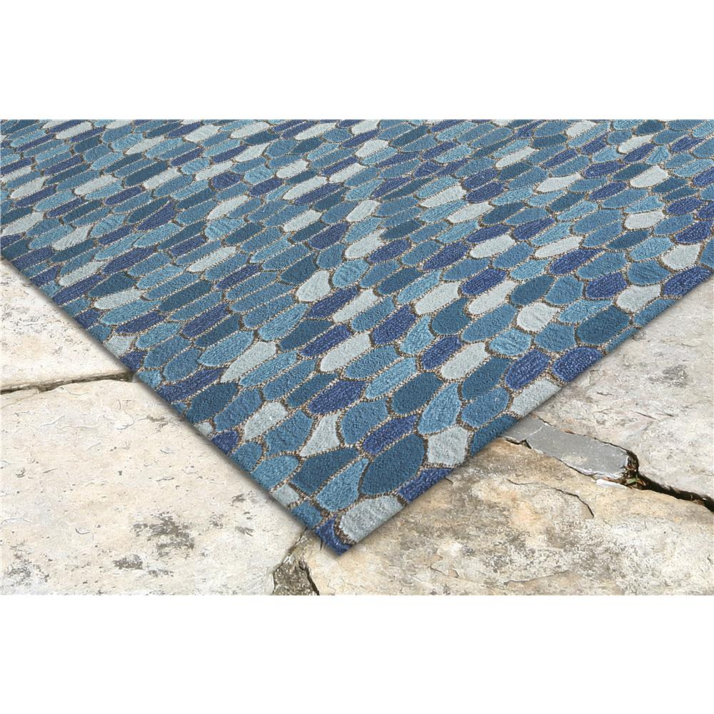 "Liora Manne 1965/04  Spello Pebbles Indoor/Outdoor Rug Blue 42""X66"""