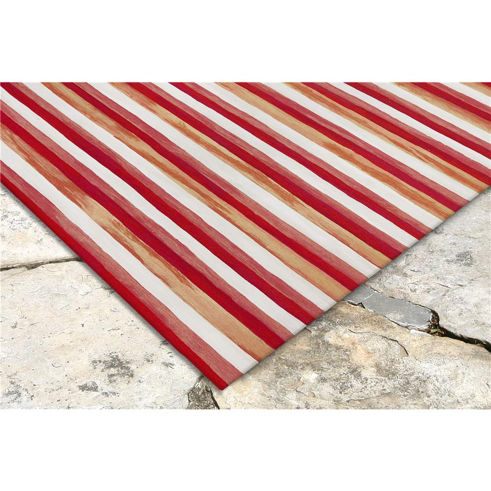 "Liora Manne 4313/24  Visions II Painted Stripes Indoor/Outdoor Rug Red 24""X36"""