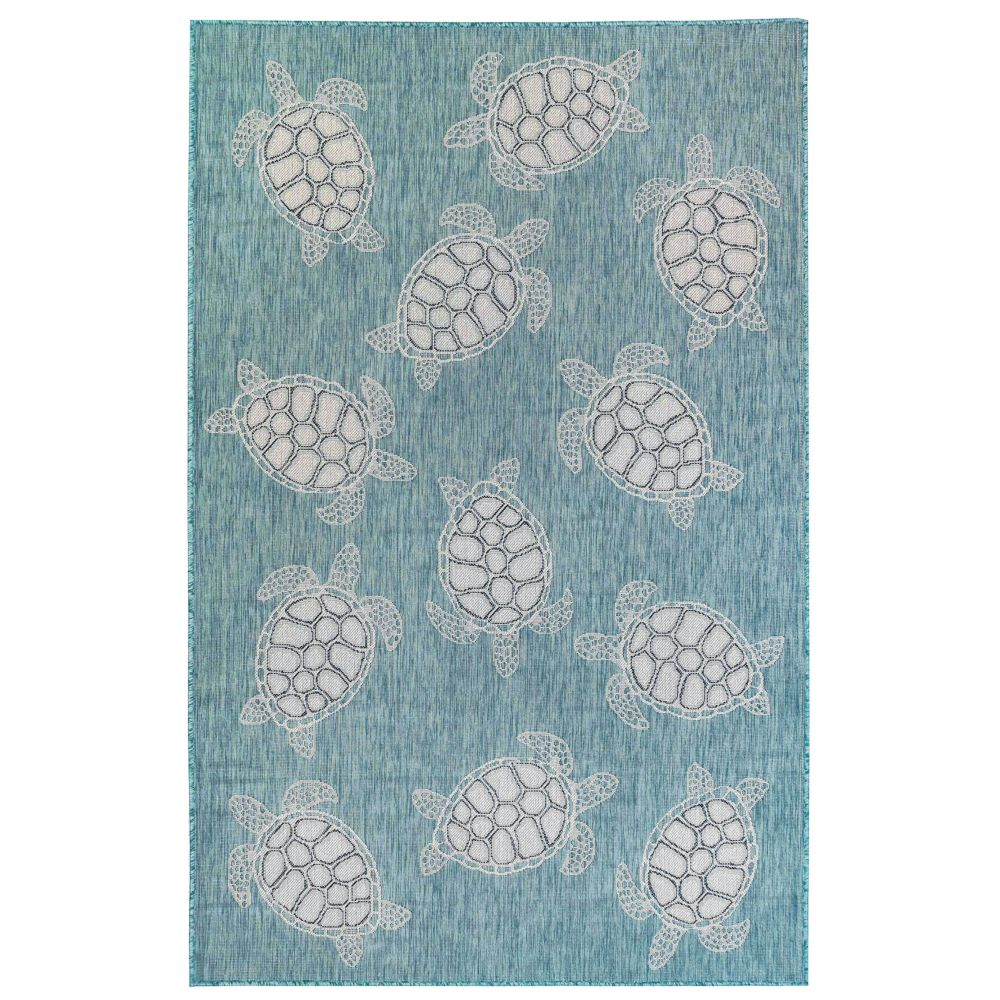 "Liora Manne 8413/04 Carmel Seaturtles Indoor/Outdoor Rug Aqua 39""X59"""