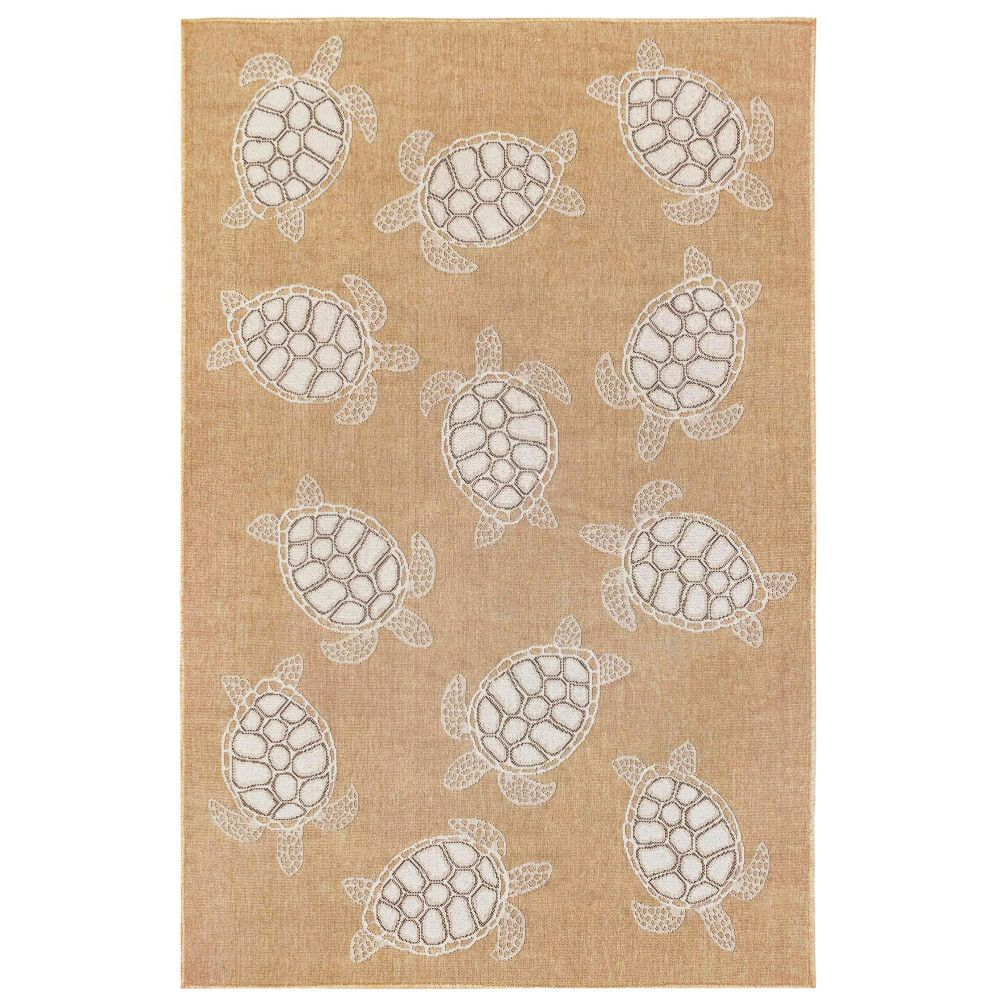 "Liora Manne 8413/12 Carmel Seaturtles Indoor/Outdoor Rug Sand 39""X59"""