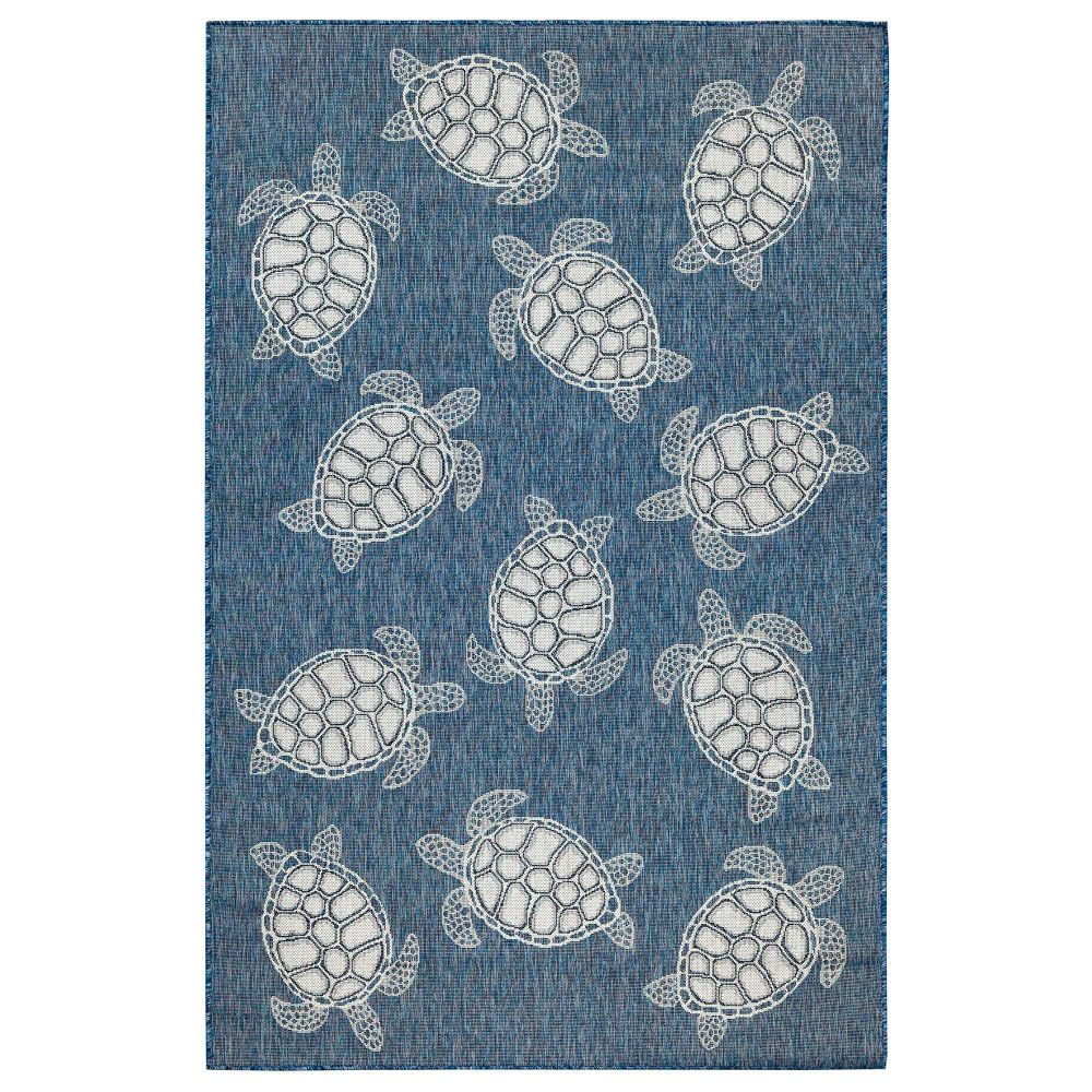 "Liora Manne 8413/33 Carmel Seaturtles Indoor/Outdoor Rug Navy 39""X59"""