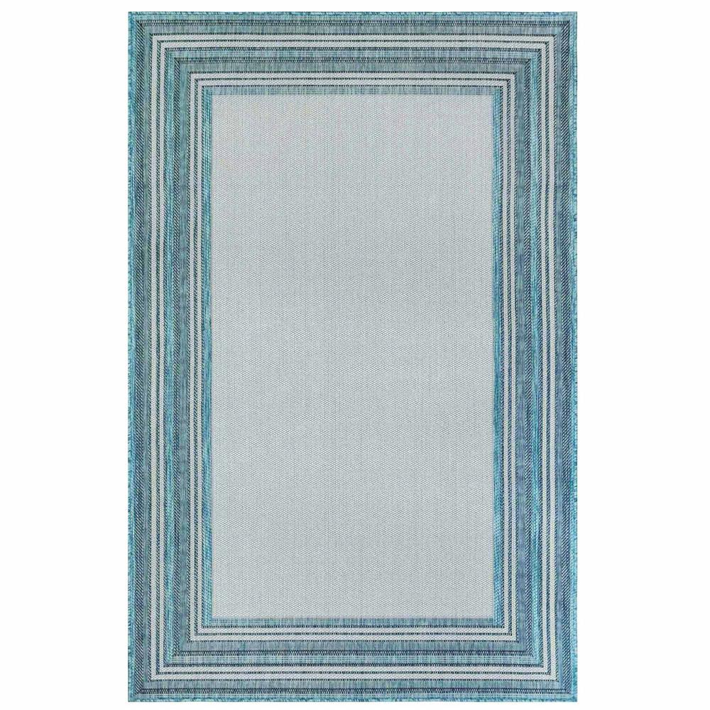 "Liora Manne 8425/04 Carmel Multi Border Indoor/Outdoor Rug Aqua 39""X59"""
