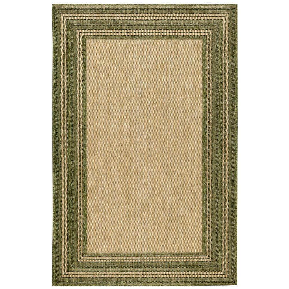 "Liora Manne 8425/06 Carmel Multi Border Indoor/Outdoor Rug Green 39""X59"""