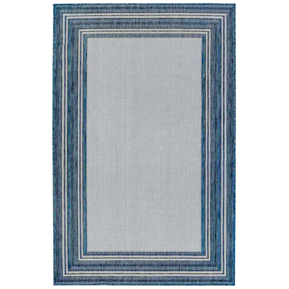 "Liora Manne 8425/33 Carmel Multi Border Indoor/Outdoor Rug Navy 39""X59"""