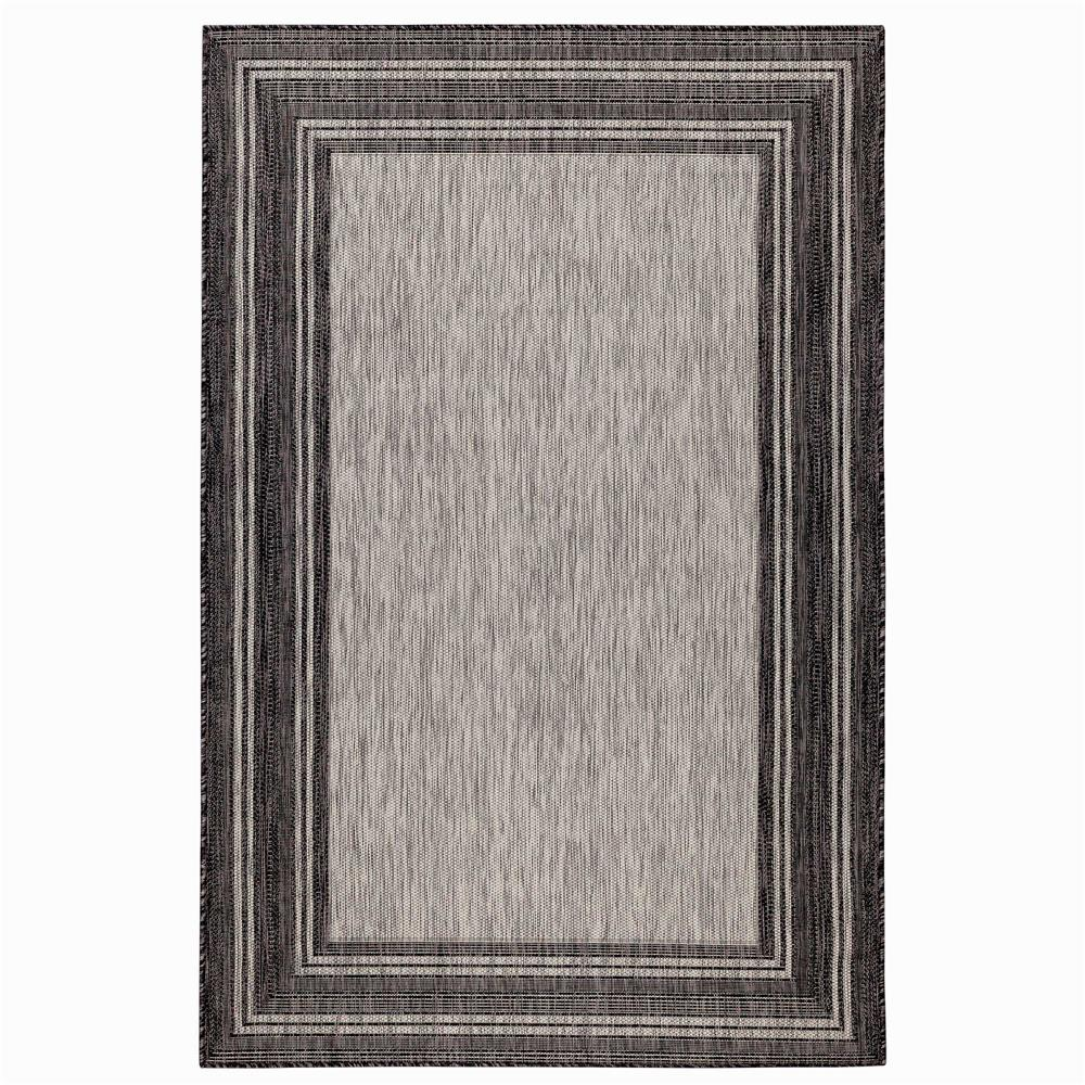 "Liora Manne 8425/48 Carmel Multi Border Indoor/Outdoor Rug Black 39""X59"""