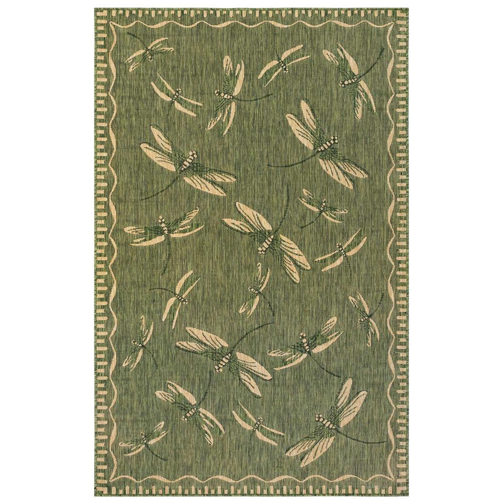"Liora Manne 8440/06 Carmel Dragonfly Indoor/Outdoor Rug Green 39""X59"""