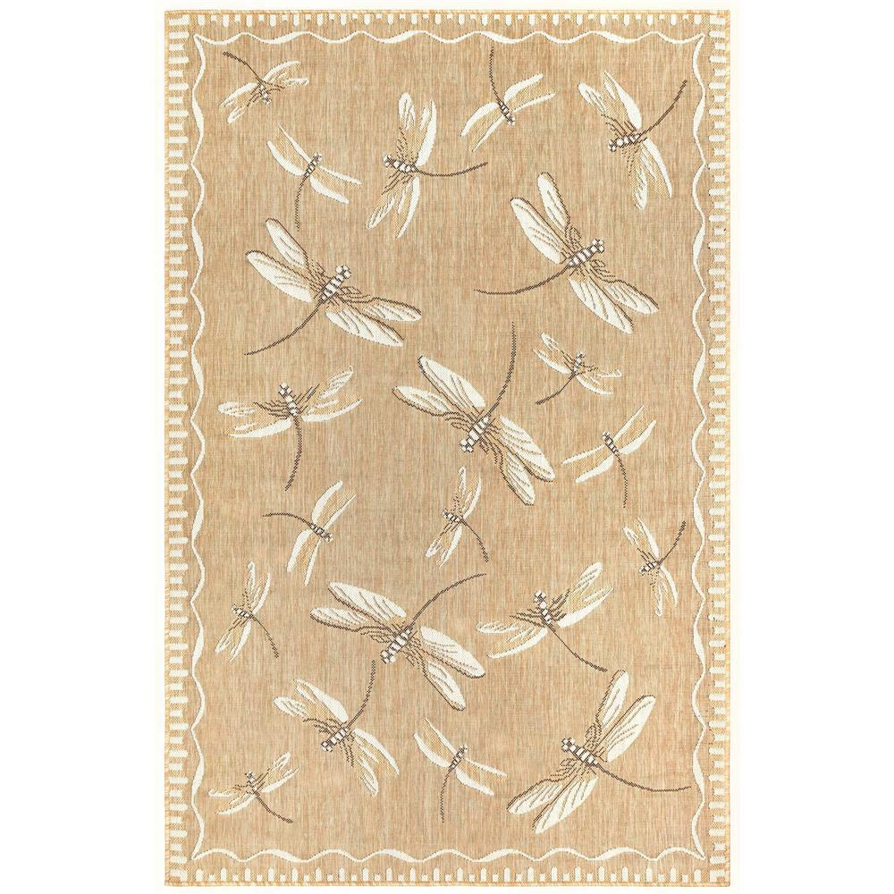 "Liora Manne 8440/22 Carmel Dragonfly Indoor/Outdoor Rug Dark Sand 39""X59"""