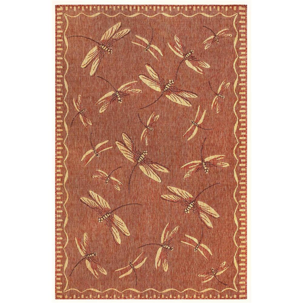 "Liora Manne 8440/24 Carmel Dragonfly Indoor/Outdoor Rug Red 39""X59"""