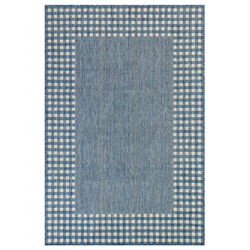 "Liora Manne 8443/33 Carmel Gingham Border Indoor/Outdoor Rug Navy 39""X59"""