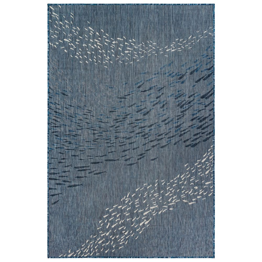 "Liora Manne 8449/33 Carmel School Of Fish Indoor/Outdoor Rug Navy 39""X59"""