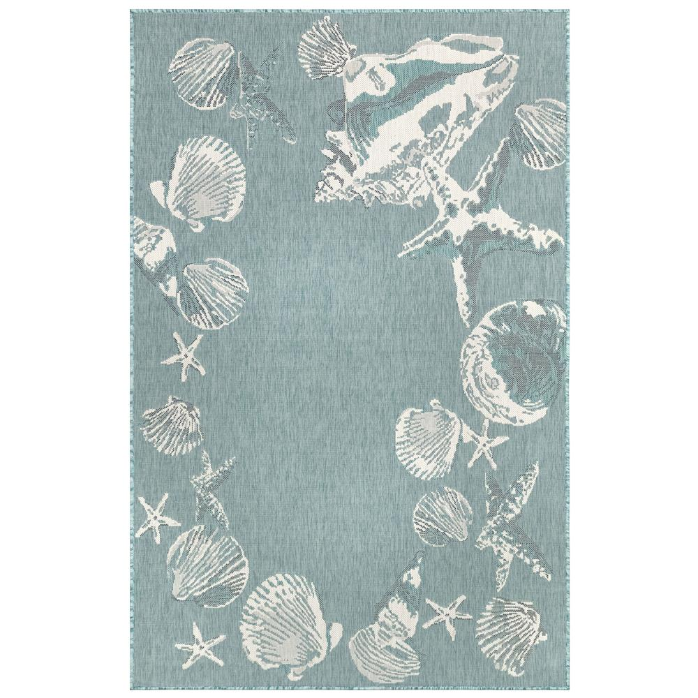 Liora Manne 8462/04 Carmel Seashell Border Indoor/Outdoor Rug in Blue 3 ft. 3 in. X 4 ft. 9 in.