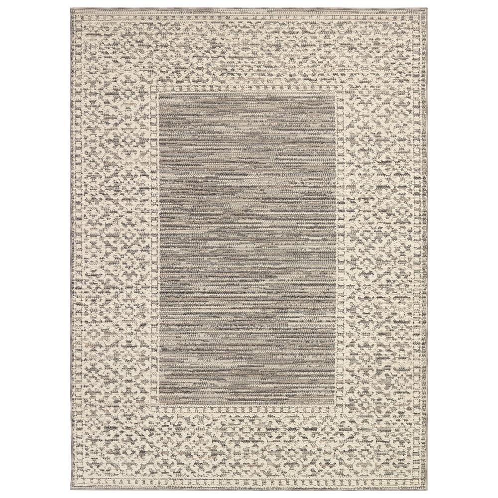 Liora Manne 6543/12 Cove Border Indoor/Outdoor Rug in Ivory 3 ft. 3 in. X 4 ft. 7 in.