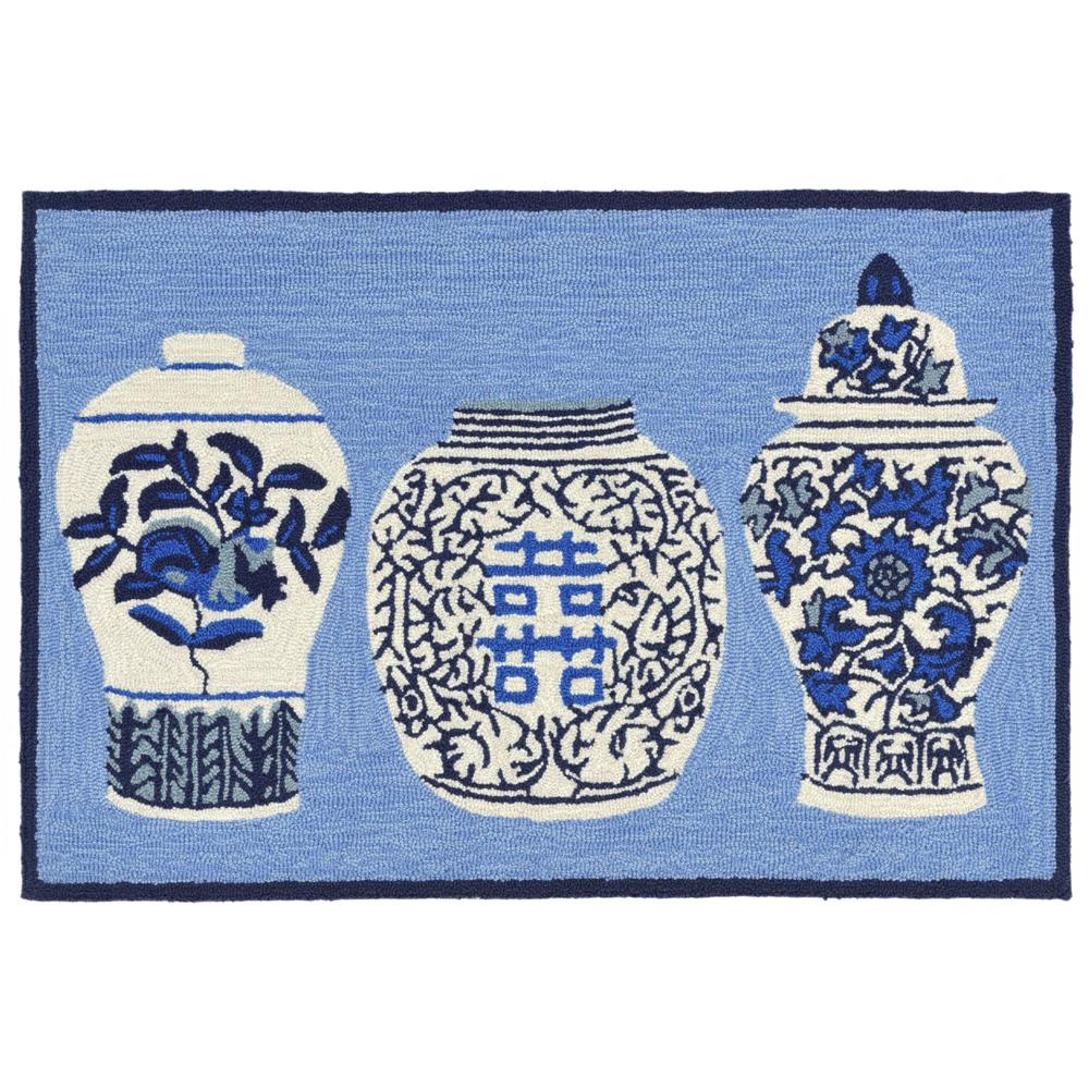 "Liora Manne 2410/03 Frontporch Ginger Jars Indoor/Outdoor Rug Blue 42""X66"""