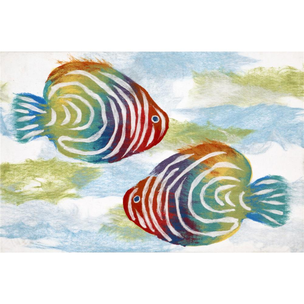 "Liora Manne ILU12327112  Illusions Rainbow Fish Indoor/Outdoor Mat Off-White 19.5""X29.5"""