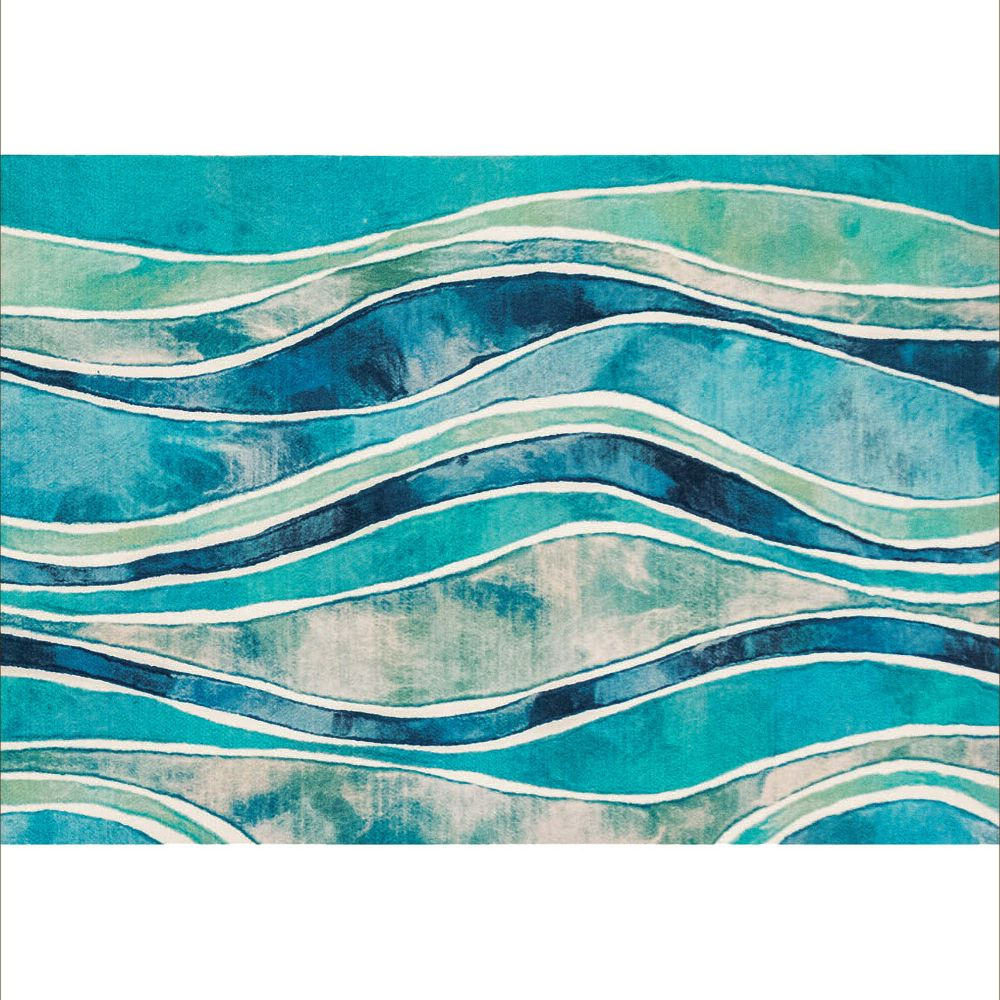 "Liora Manne ILU12327604  Illusions Wave Indoor/Outdoor Mat Blue 19.5""X29.5"""