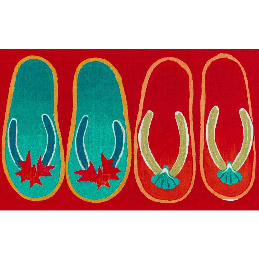 "Liora Manne ILU12328024  Illusions Flip Flop Ombre Indoor/Outdoor Mat Red 19.5""X29.5"""