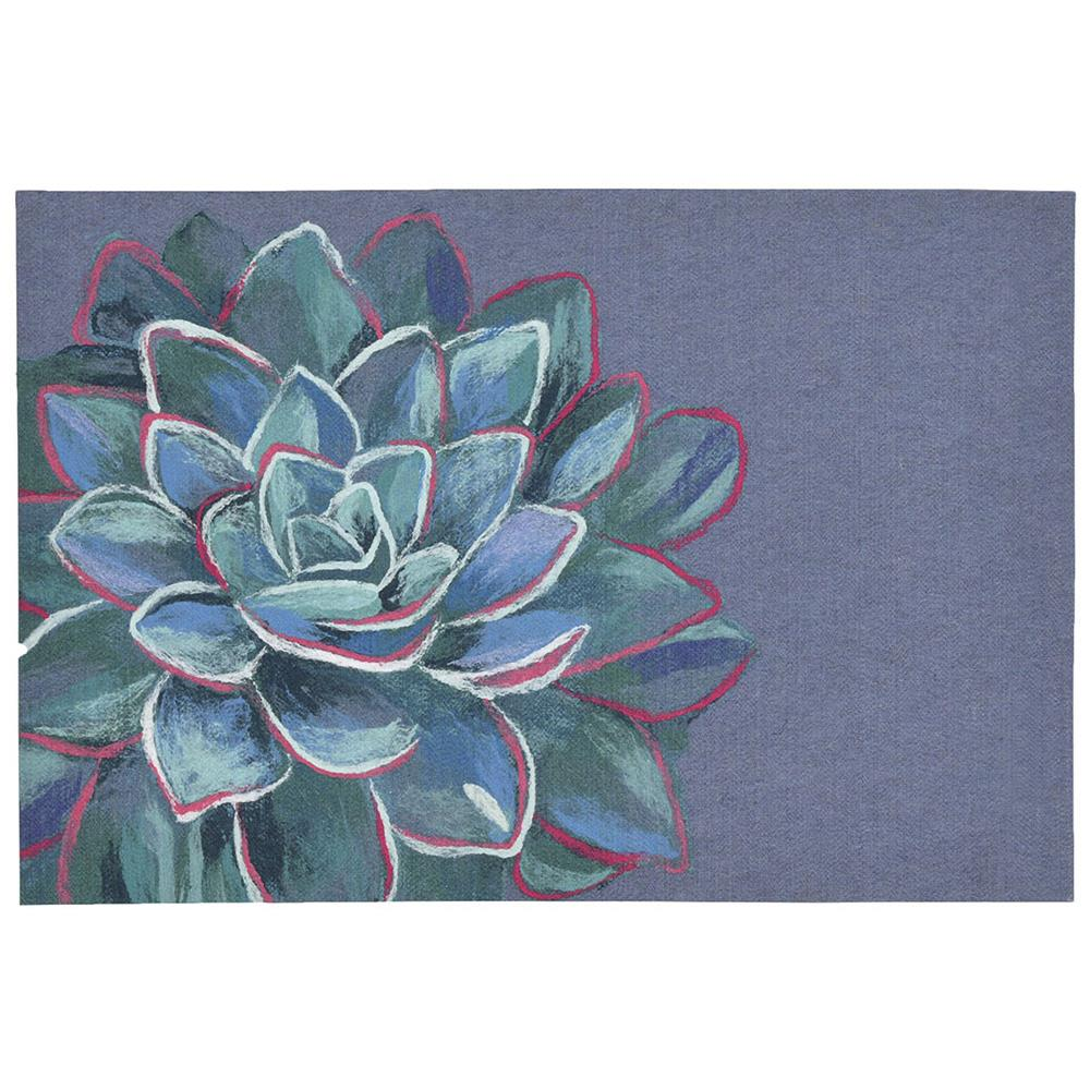 "Liora Manne ILU12328803  Illusions Succulent Indoor/Outdoor Mat Navy 19.5""X29.5"""