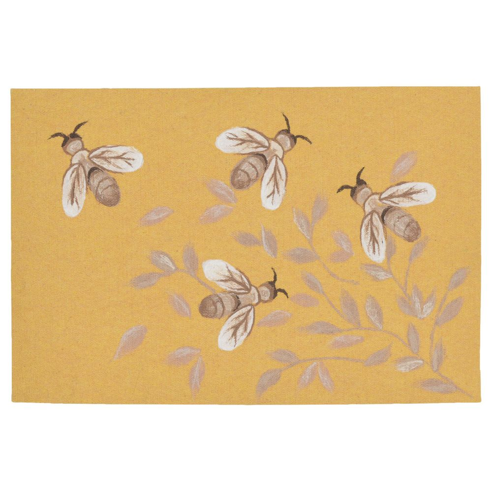 "Liora Manne ILU12328909  Illusions Bees Indoor/Outdoor Mat Gold 19.5""X29.5"""
