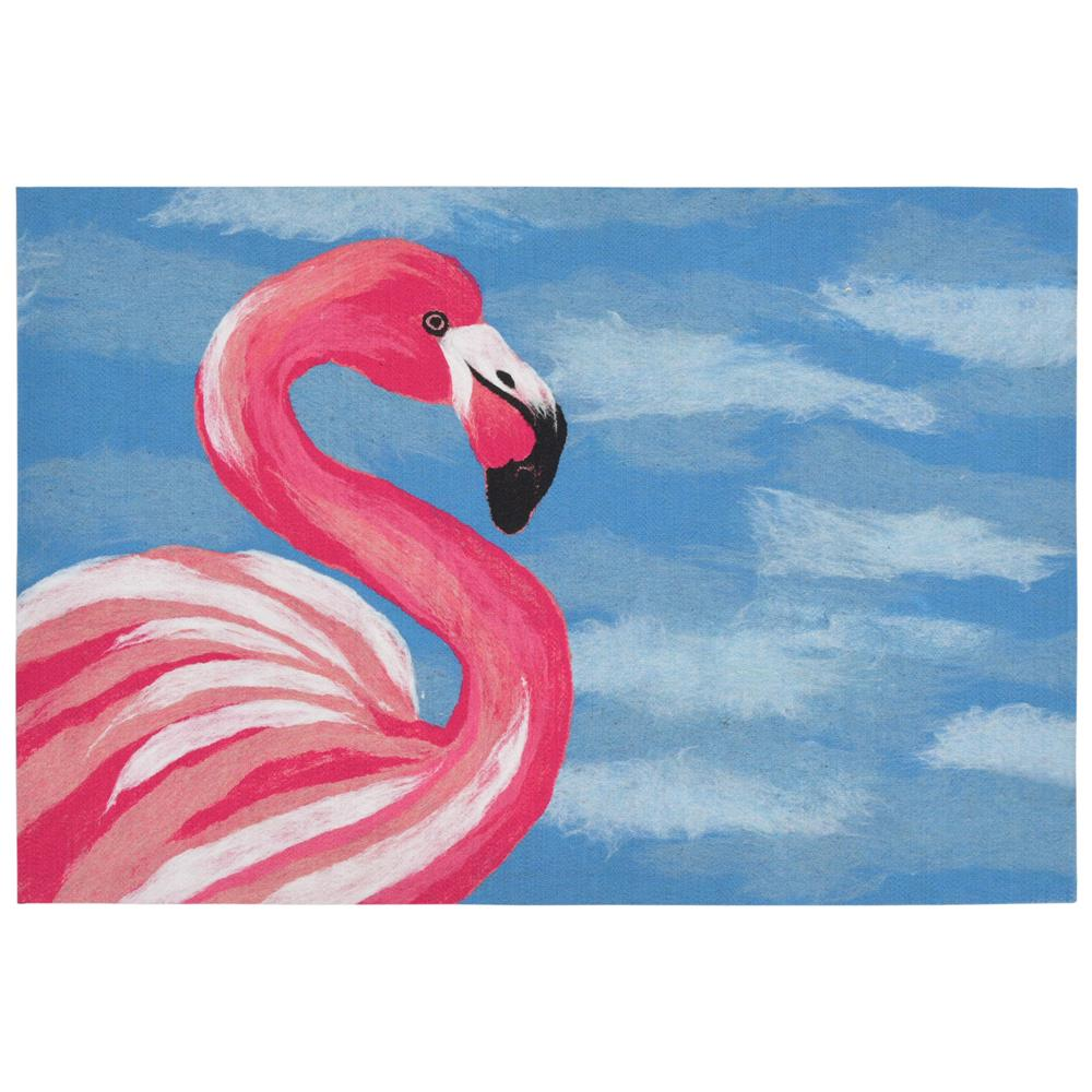 "Liora Manne ILU12329033  Illusions Flamingo Indoor/Outdoor Mat Blue 19.5""X29.5"""
