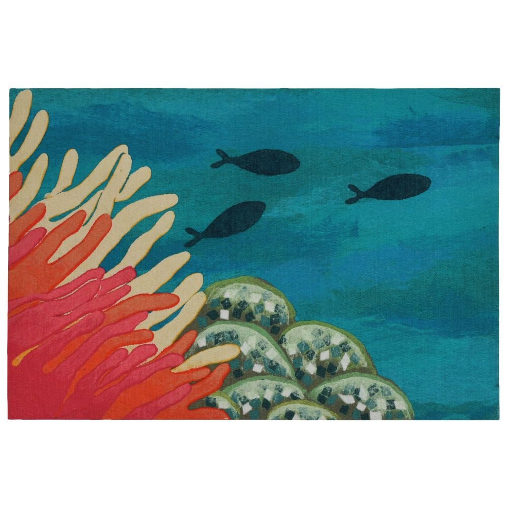 "Liora Manne ILU12329217  Illusions Reef & Fish Indoor/Outdoor Mat Orange 19.5""X29.5"""