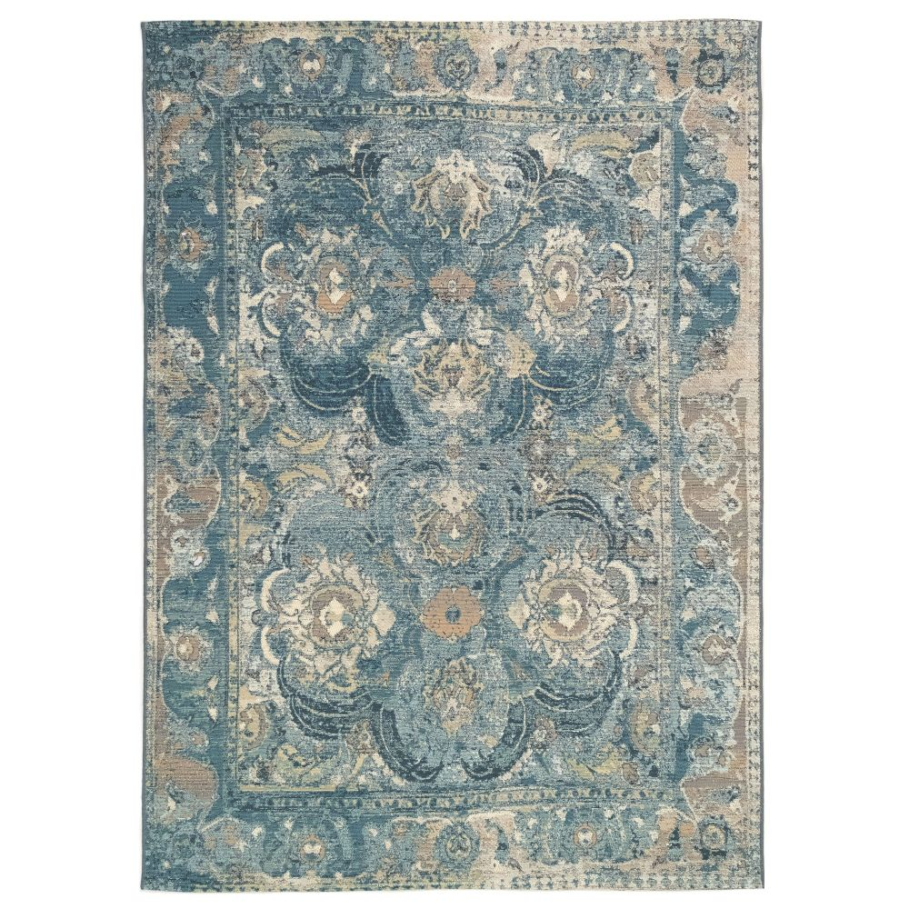 Liora Manne 8044/03 Marina Kashan Indoor/Outdoor Rug in Blue 3 ft. 3 in. X 4 ft. 9 in.
