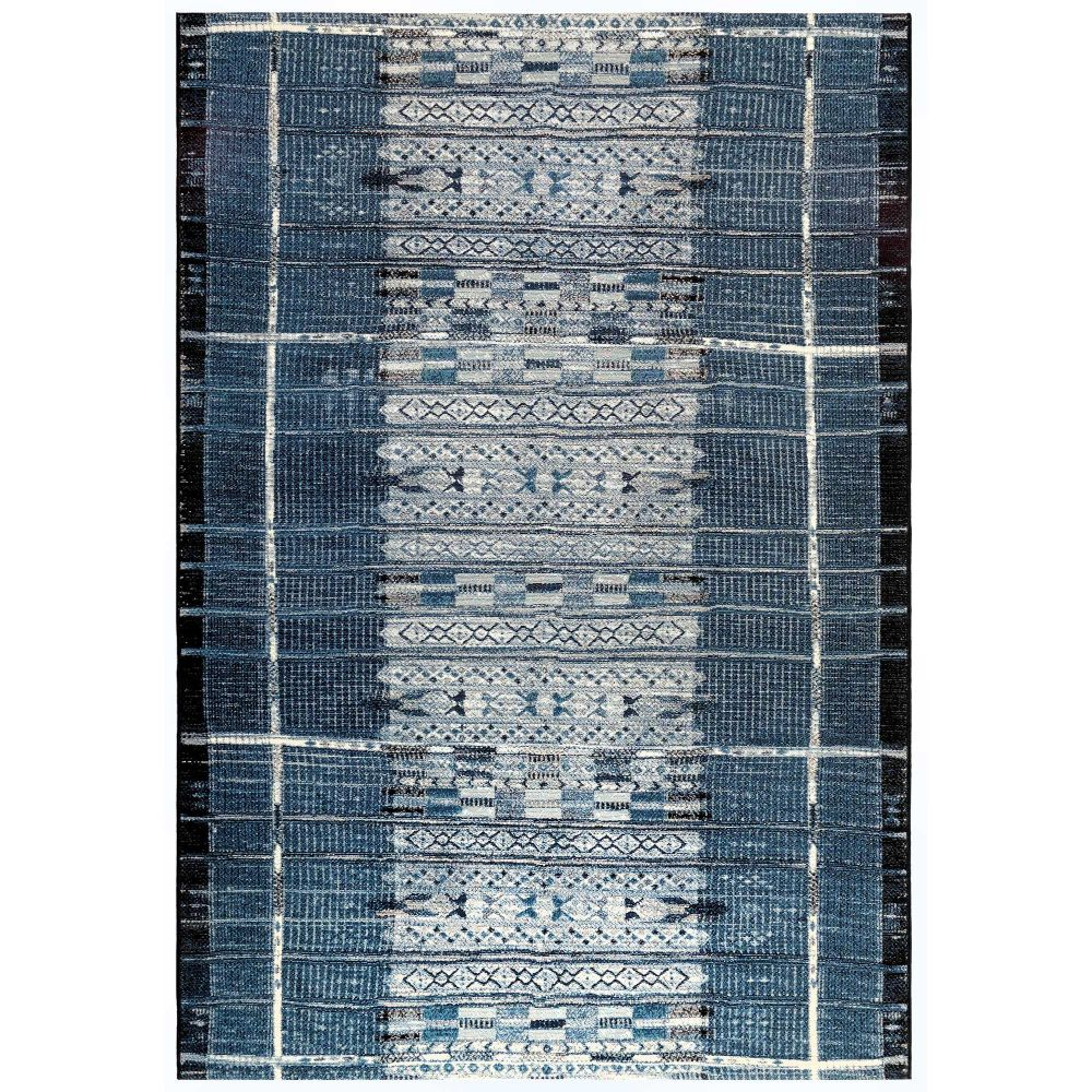 "Liora Manne 8057/33 Marina Tribal Stripe Indoor/Outdoor Rug Denim 39""X59"""