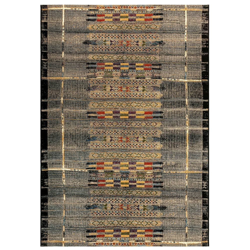 "Liora Manne 8057/48 Marina Tribal Stripe Indoor/Outdoor Rug Black 39""X59"""