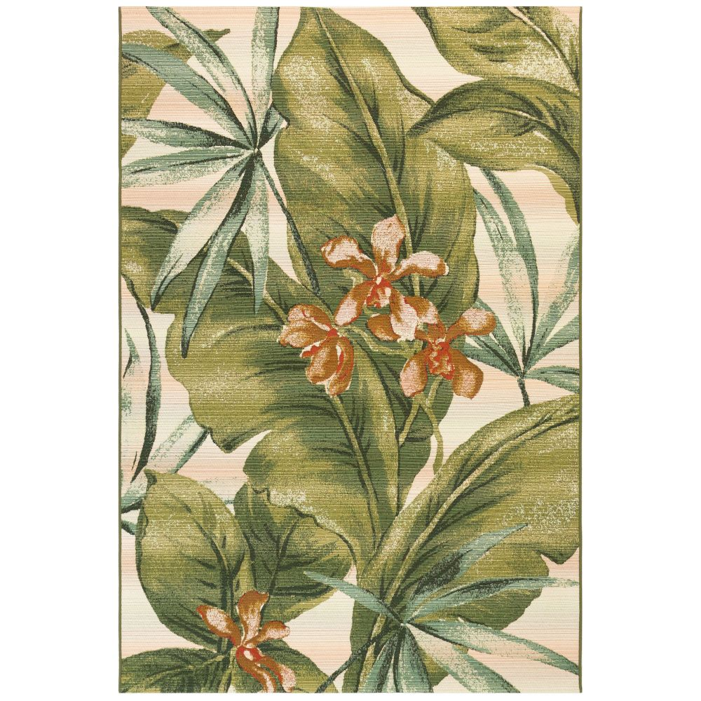 "Liora Manne 8064/12 Marina Tropical Leaf Indoor/Outdoor Rug Cream 39""X59"""
