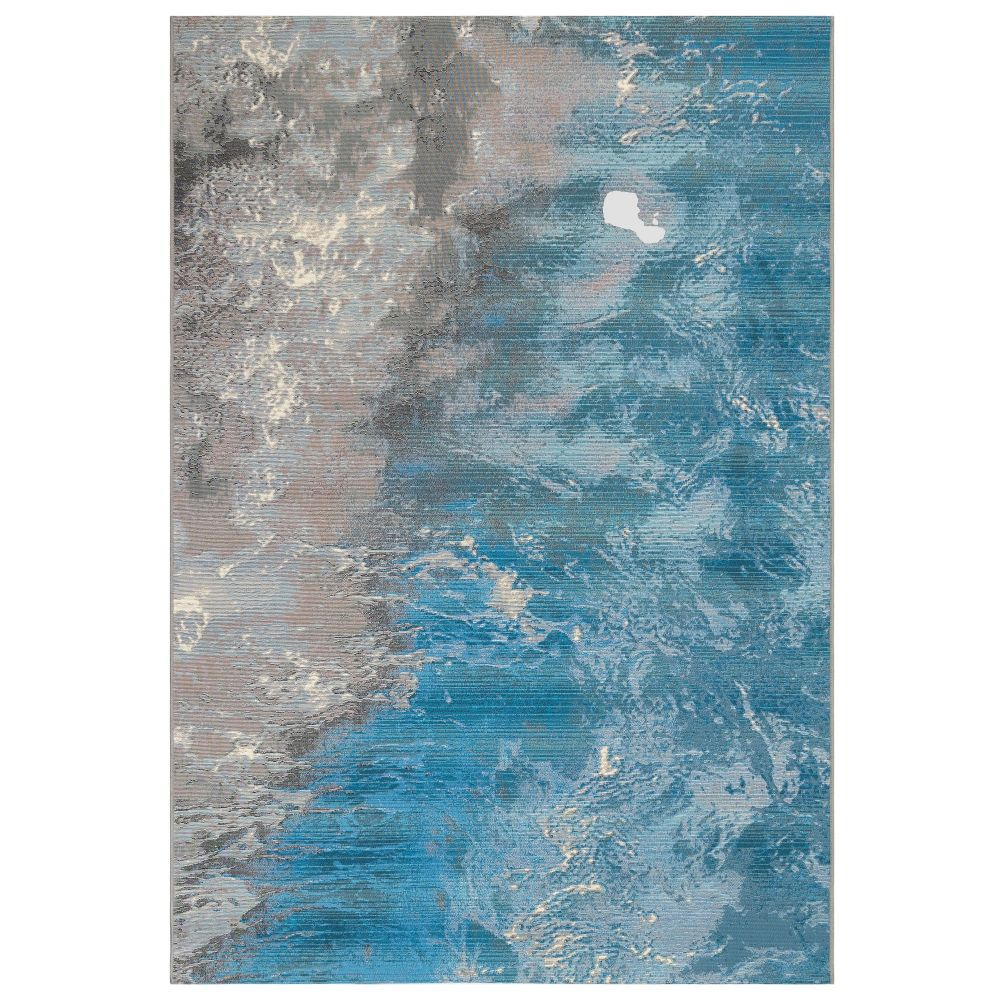 Liora Manne 8068/04 Marina Surf Indoor/Outdoor Rug in Blue 3 ft. 3 in. X 4 ft. 9 in.