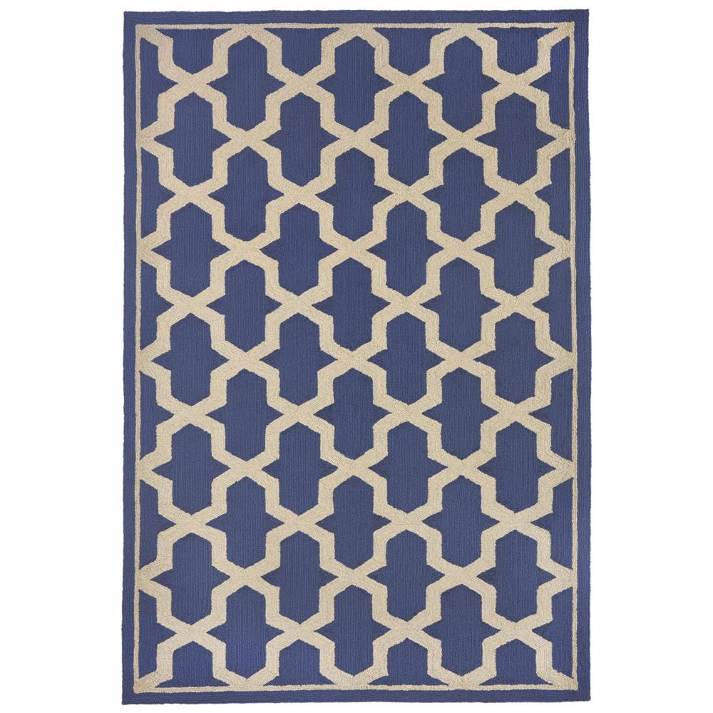 "Liora Manne 7414/03  Napoli Global Geo Indoor/Outdoor Rug Blue 42""X66"""