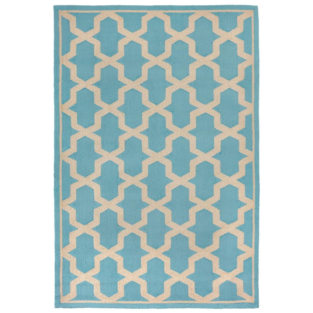 "Liora Manne 7414/94  Napoli Global Geo Indoor/Outdoor Rug Blue 42""X66"""