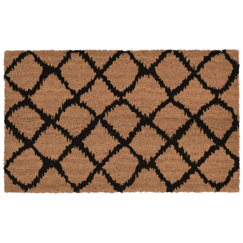 "Liora Manne 2006/48  Natura Ikat Lattice Indoor/Outdoor Mat Black 18""X30"""