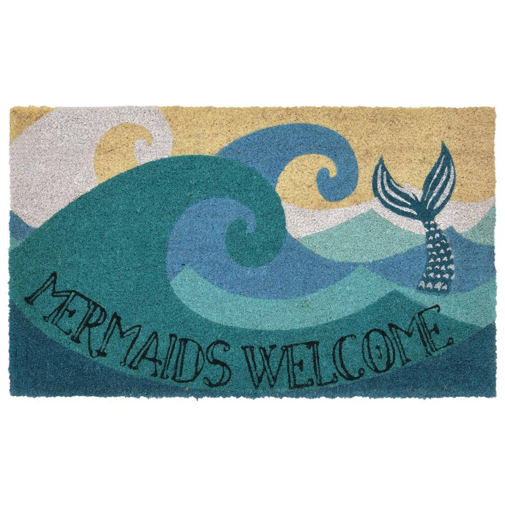 "Liora Manne 2028/04  Natura Mermaids Welcome Indoor/Outdoor Mat Blue 18""X30"""